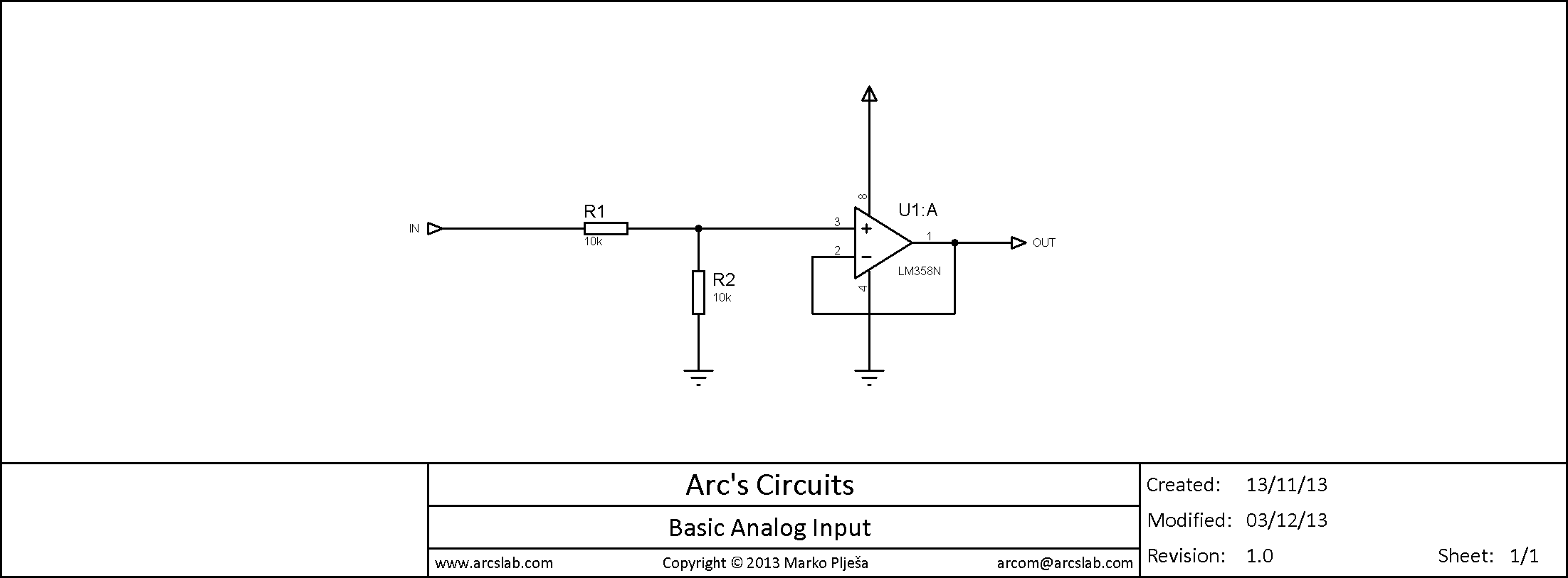 Arcs Lab Circuits Basic Circuit Analog Input Schematic