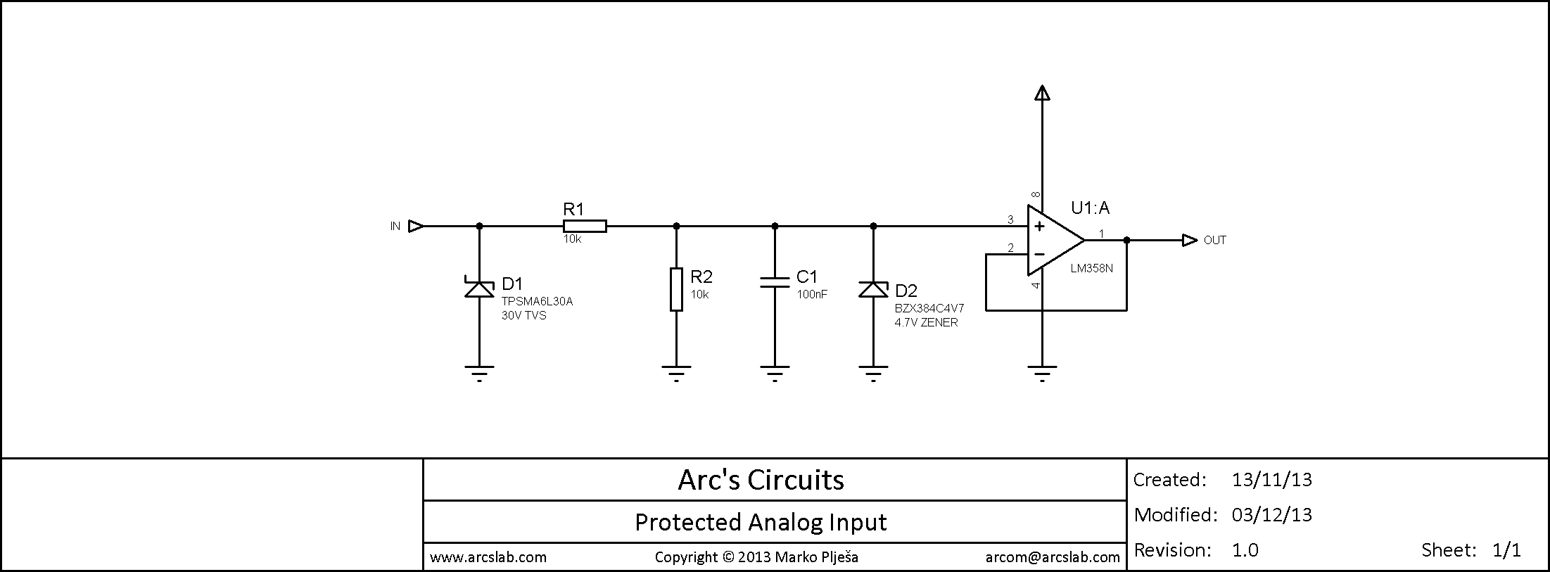 Arcs Lab Blog Archive Protected Analog Input Zener Diode Circuits Schematic