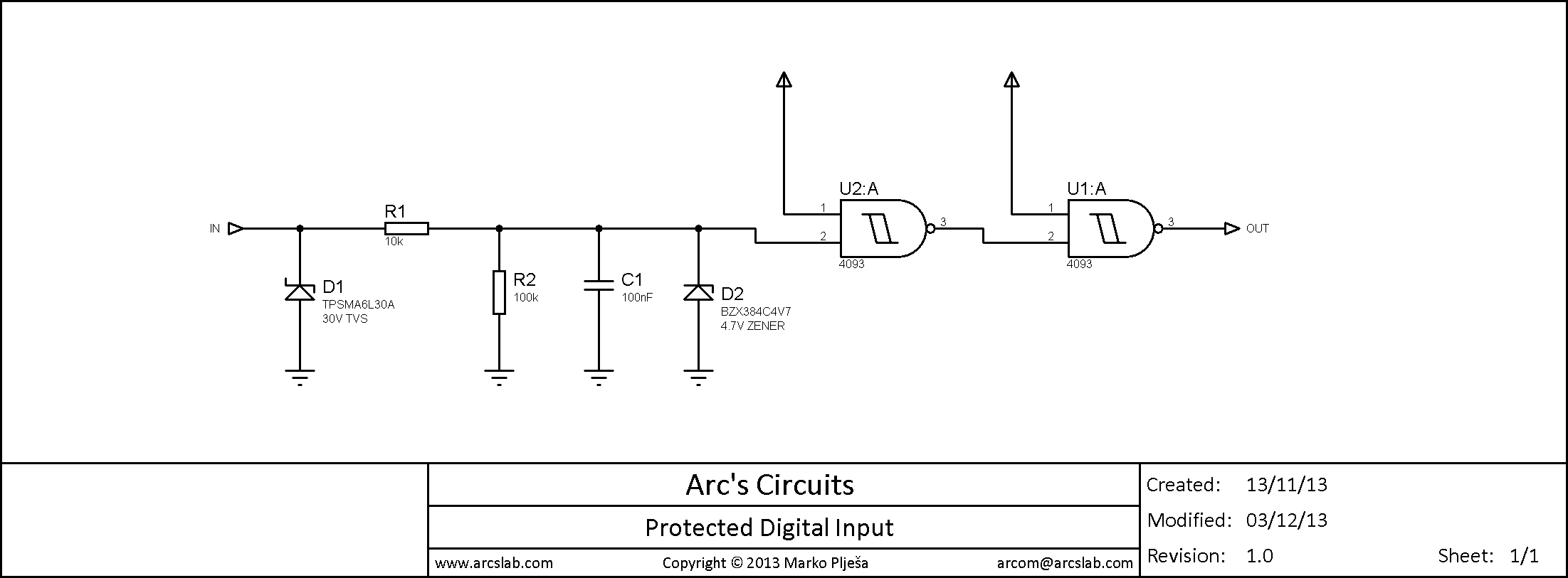 Debounce Switch Circuit Arcs Lab Digital Protected Input Schematic